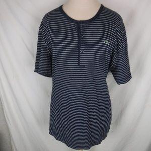 Lacoste Henley Mens Blue Striped T Shirt Sz 7 XL
